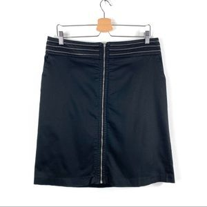 Dalia Collection | Black Front Zipper Skirt